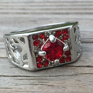Other - Red Ruby CZ square halo ring unisex